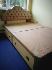 Double Bed with 4 large storage drawers and Dralon Headboard included