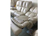 3 Seater Cream Leather Recliner