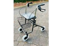 Mobility Rollator with 4 Wheels, Padded Seat,Tray and Shopping Basket its Foldable for easy storage