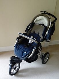 Pram, carry cot and car seat. Complete Jane travel system includes change bag & rain covers