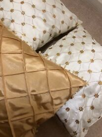 Cream and Gold Sequin Embellished Cushions