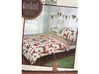 BRAND NEW WOODLAND ANIMALS SINGLE DUVET SET INCLUDES FITTED SHEET