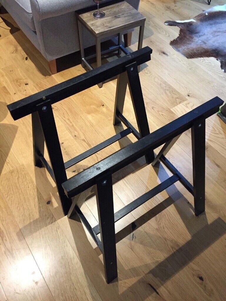 IKEA Black wooden trestle table legs perfect for desk X2 ...