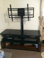 solid wood and glass mount tv stand