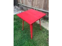 Red metal table