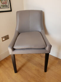 RRP £99 MADE . COM 1 x PERCY DINING CHAIR Pewter Grey PU Faux Leather - NEW