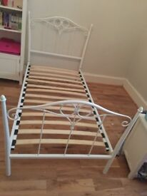 Beautiful White Metal Single Frame Girls Bed Very Good Condition