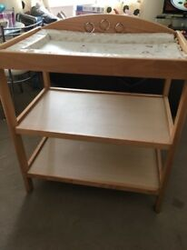 Wooden baby changing station