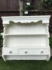 Vintage shelving unit with three drawers suitable for kitchen or bathroom