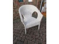White Wicker Bedroom Chair - sound but needs TLC