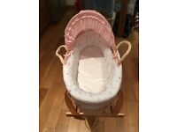 Girls mother care Moses basket and Claire de lune rocking stand