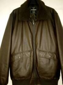 Mens brown leather jacket / coat