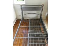 Metal frame single bed and mattress