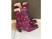 Bertie Leather Boots/ Red and Black Soft leather/ Snake Leather/ Size 38 UK 5