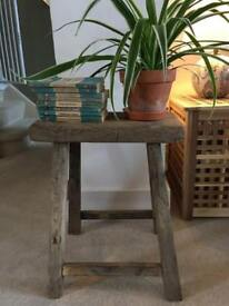 Beautiful rustic French antique wooden stool