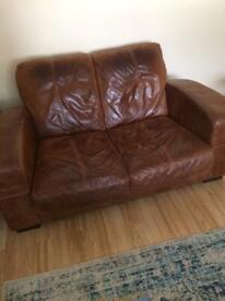 Brown Leather Sofas (1 seater + 2 seater)