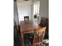 Extending Dining Table & Set of 6 Upholstered Chairs