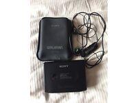 Classic Sony Walkman Cassette Player including case & headphones