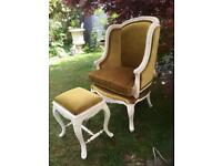 Immaculate French armchair and foot stool