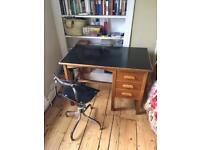 Vintage oak desk with draws