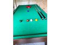 Half size snooker table with snooker balls and two cues