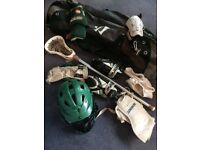 Lacrosse equipment (Cascade Helmet, Warrior Stick, Brine Gloves, STX Arm Pads and Warrior Bag)