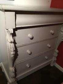 Very large wooden shabby chic/French chest of drawers