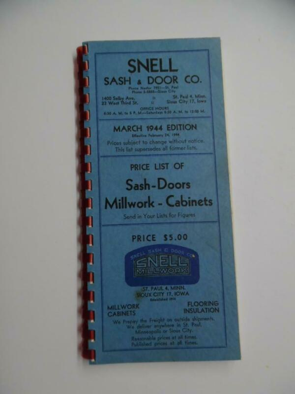 1944 Snell Sash & Door Co Catalog Millwork Cabinets More Architectural Vintage