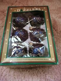 6 Blue with Gold Glitter Christmas Tree Baubles Tree Decorations Ornaments