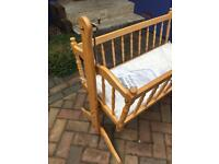 Baby Crib with optional rocking action.