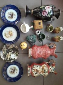 ANTIQUE VASES, ANTIQUE PLATES, VARIOUS CHINAWARE ANTIQUE AND MODERN - COLLECTION 20 ITEMS IN TOTAL