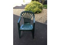 4 green outdoor garden chairs