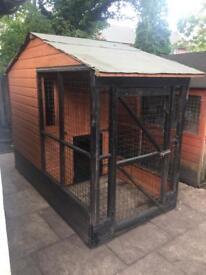 Large solid wood dog kennel