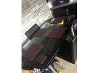 Dining table black glass