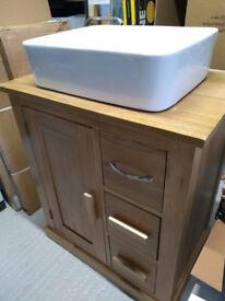 Solid Oak Vanity Unit & White Ceramic Basin 70 x 48 x 80cms high RRP £385
