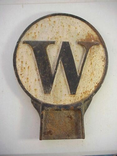 Antique CAST IRON RAILROAD LOCOMOTIVE WHISTLE and RING SIGN W & R