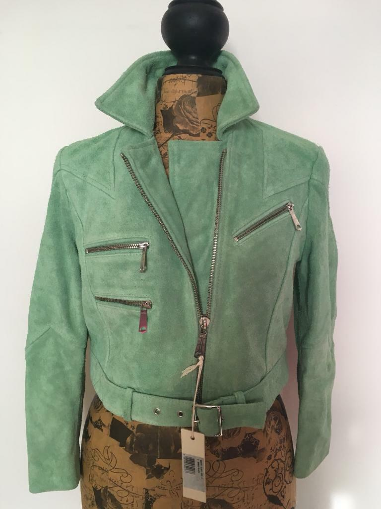 Diesel 100% washed leather, worn-look cropped biker jacket. Mint green. Size Small (UK 10) BNWT