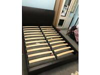 Double bed black leather