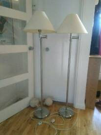 2 upright floor lamps brushed steel,shades with LED bulbs