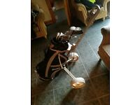 Full golf club set (Bag, irons, driver, putter, trolley)