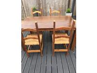 Large dining table with 4 chairs