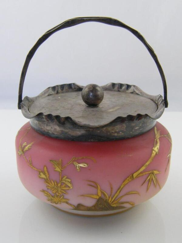 VICTORIAN WEBB CASED PEACHBLOW GLASS HAND GILDED & DECORATED BISCUIT BARREL