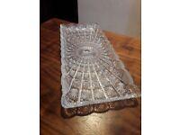 Beautiful Solid Crystal Pressed Vintage Serving Platter