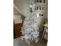 6ft white tree with pink abd silver baubles