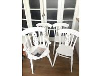 SOLID OAK SHABBY CHIC CHAIRS FREE DELIVERY 🇬🇧no table