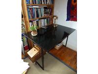 Elegant glass-topped desk 80 x 120 cm