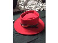 Hat - Smithbilt red felt, size 7 1/4, feathered