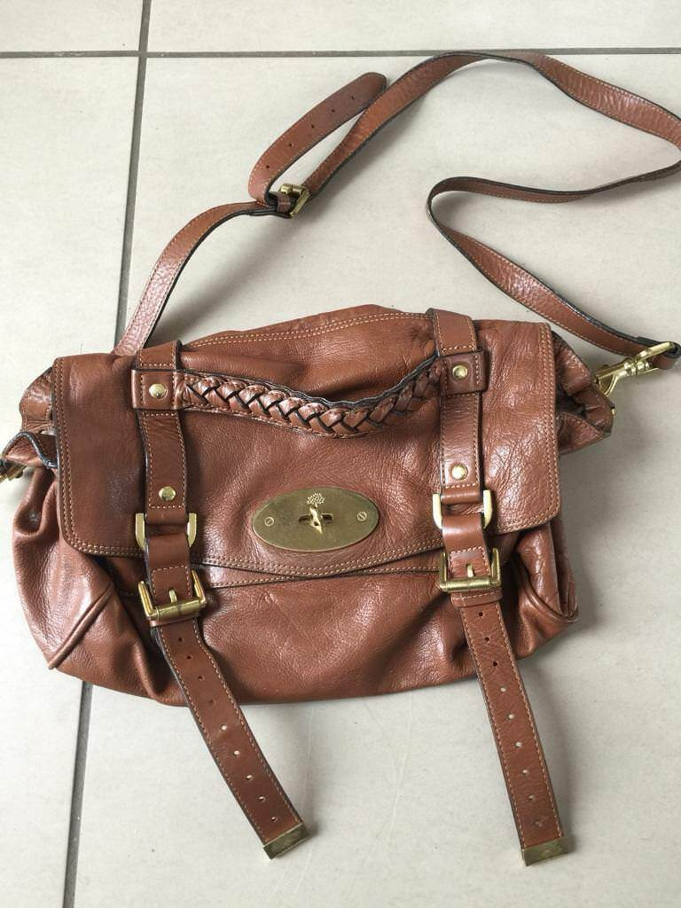 Genuine Mulberry Alexa Handbag In Oak Regular Size Crossbody Bag Satchel