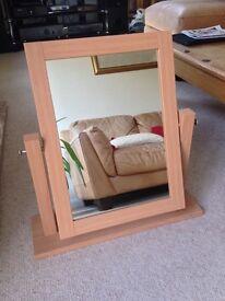 Beech wood effect dressing table mirror