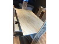 Marble effect Dining table with 6 chairs